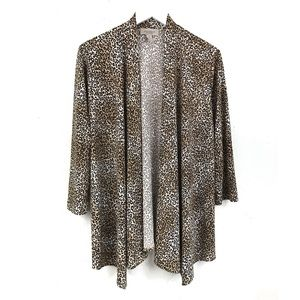 Chico's Easywear Leopard Print Cardigan Open Front